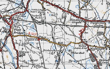 Old map of Bickershaw in 1947