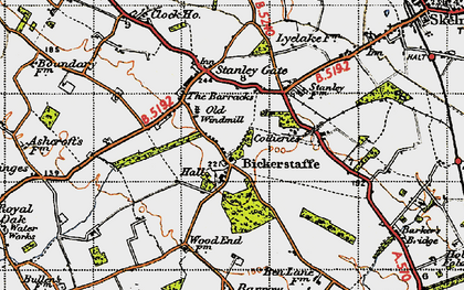 Old map of Bickerstaffe in 1947