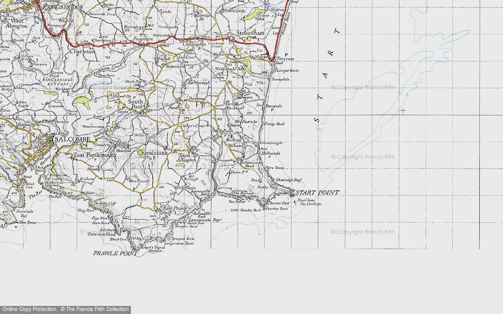Old Map of Historic Map covering Lannacombe Beach in 1946