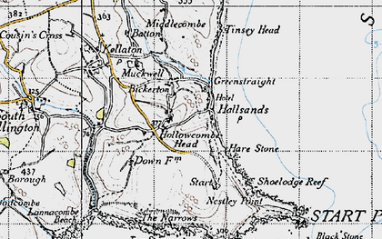Old map of Lannacombe Beach in 1946