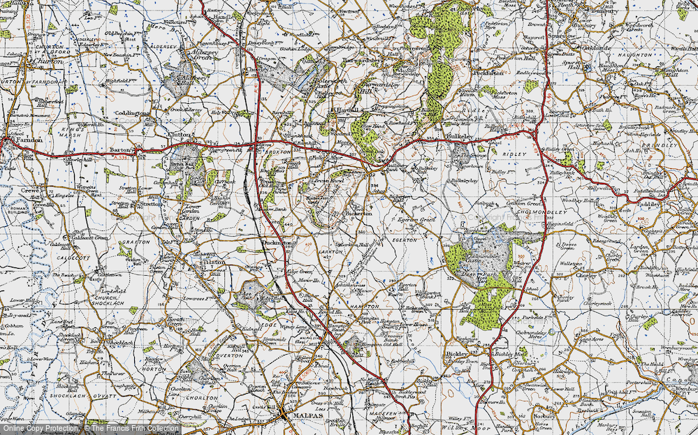 Old Map of Historic Map covering Larkton Hill in 1947