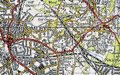 Old map of Bickley in 1946