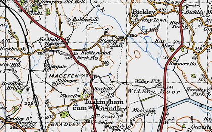 Old map of Bar Mere in 1947