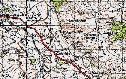 Old map of Bicknoller in 1946