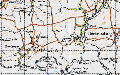 Old map of Bicton in 1946