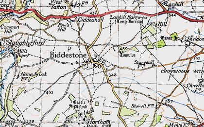 Old map of Biddestone in 1946