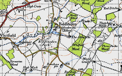 Old map of Whitfield Wood in 1946