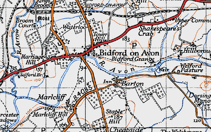 Old map of Bidford-on-Avon in 1946