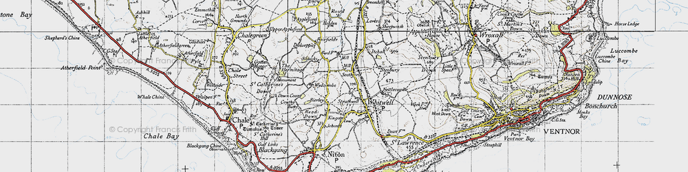 Old map of Wydcombe in 1945