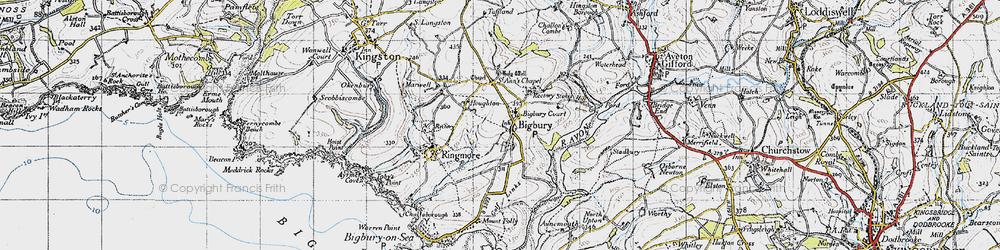 Old map of Bigbury in 1946