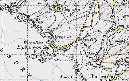 Old map of Bigbury-on-Sea in 1946