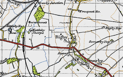 Old map of Bigby in 1947