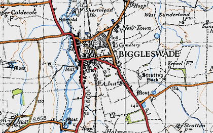 Old map of Biggleswade in 1946