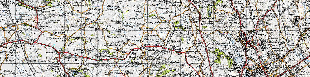 Old map of Bignall End in 1946