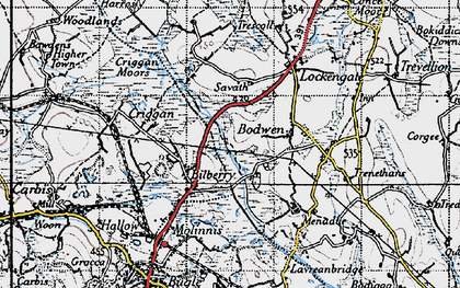 Old map of Bilberry in 1946