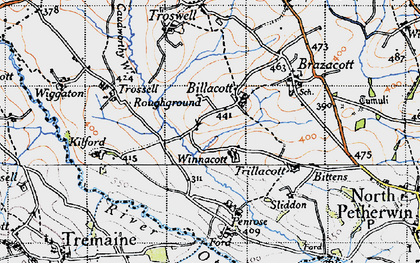 Old map of Billacott in 1946