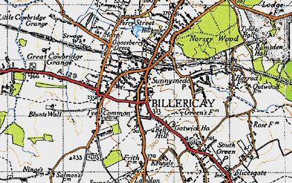 Old map of Billericay in 1946