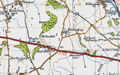 Old map of Withycombe Wood in 1947