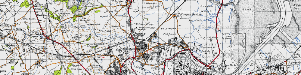 Old map of Billingham in 1947