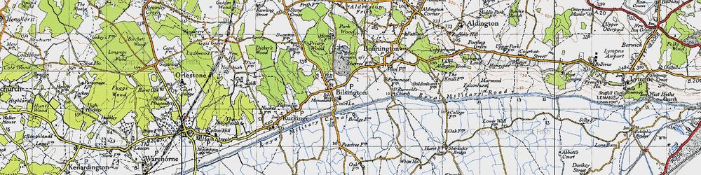 Old map of Bilsington in 1940