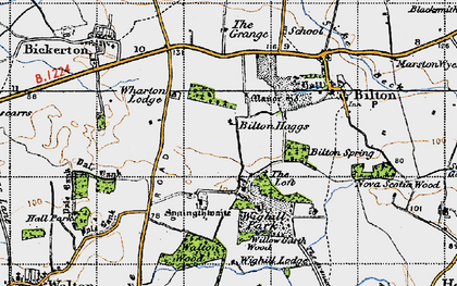 Old map of Wighill Lodge in 1947