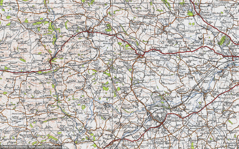 Old Map of Historic Map covering Langford Heathfield in 1946