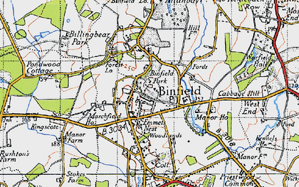 Old map of Binfield in 1940