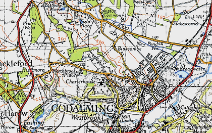 Old map of Binscombe in 1940