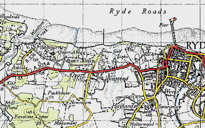 Old map of Binstead in 1945