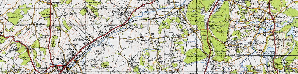 Old map of Binsted in 1940