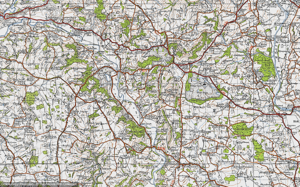 Old Map of Historic Map covering Woodbury Hill in 1947