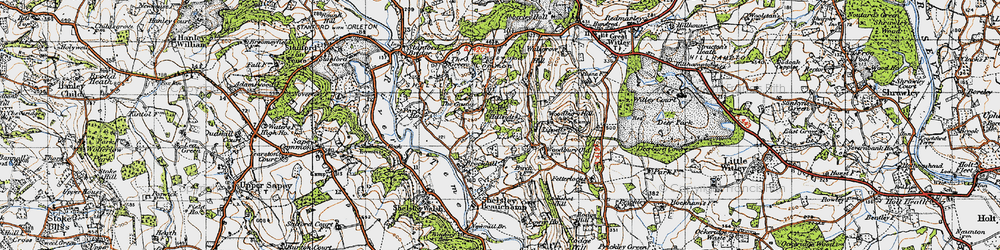 Old map of Woodbury Hill in 1947