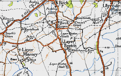 Old map of Layer Breton Hall in 1945