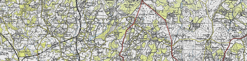 Old map of Westlands in 1940