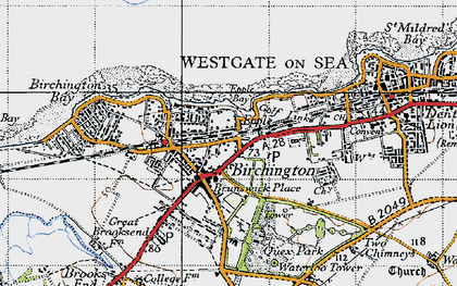 Old map of Birchington in 1947