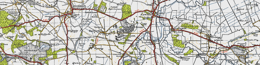 Old map of Bircotes in 1947