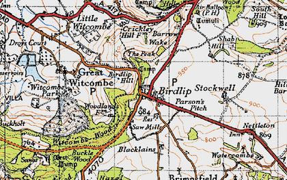 Old map of Birdlip in 1946