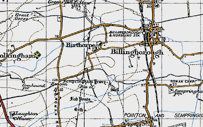 Old map of Birthorpe in 1946