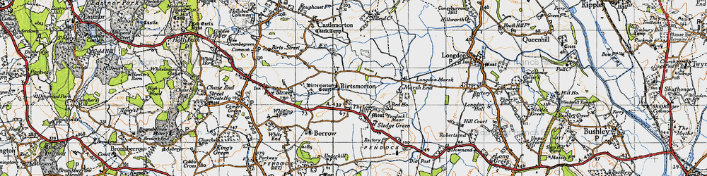 Old map of Birtsmorton in 1947