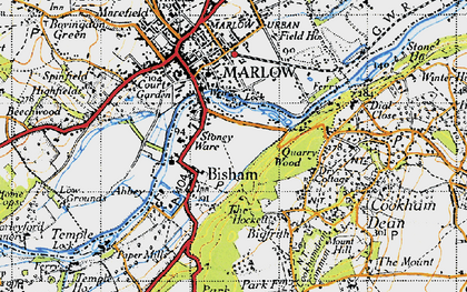 Old map of Bisham in 1947