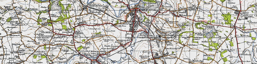 Old map of Bishop Auckland in 1947