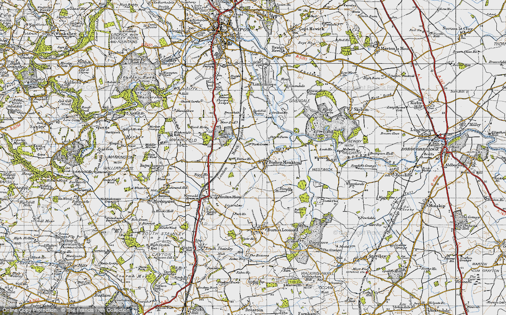 Old Map of Bishop Monkton, 1947 in 1947