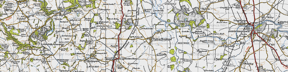 Old map of Bishop Monkton in 1947