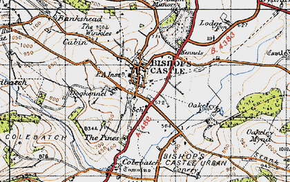 Old map of Bishop's Castle in 1947