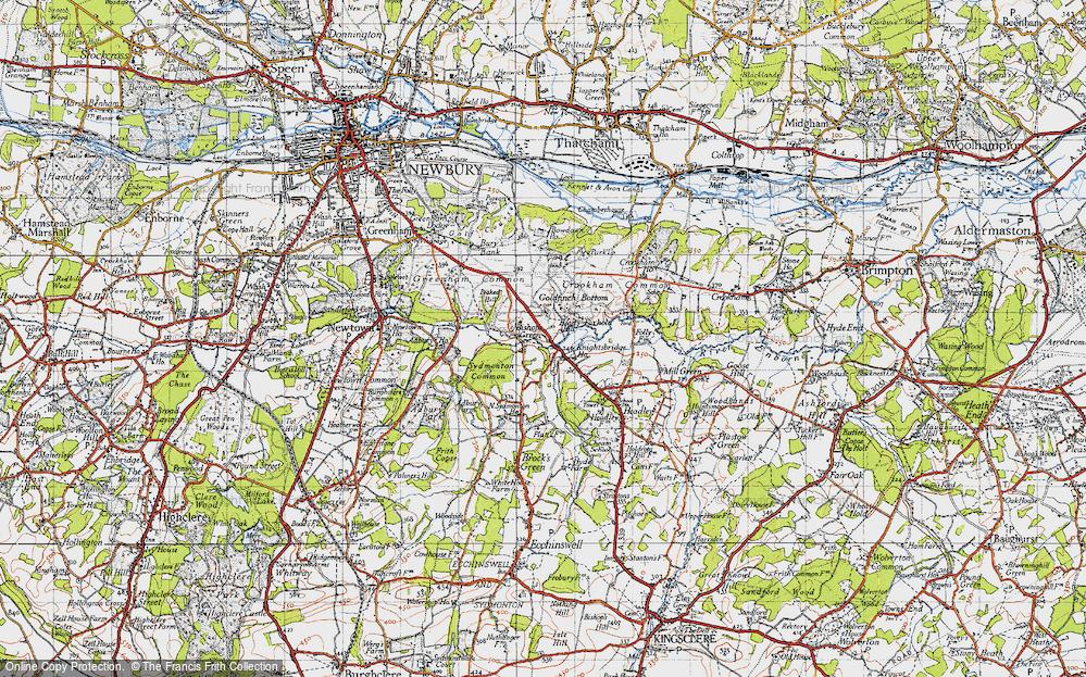 Old Map of Historic Map covering Aldern Bridge Ho in 1945