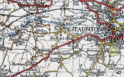 Old map of Bishop's Hull in 1946