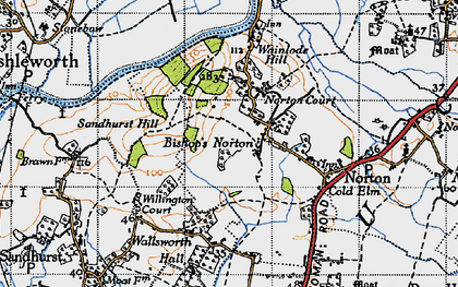 Old map of Bishop's Norton in 1947