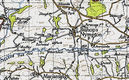 Old map of Avercombe in 1946