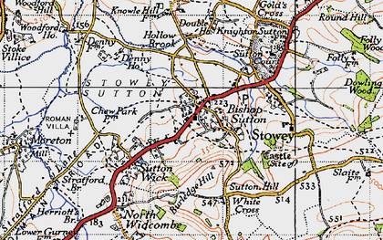 Old map of Bishop Sutton in 1946