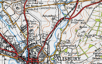Old map of Bishopdown in 1940